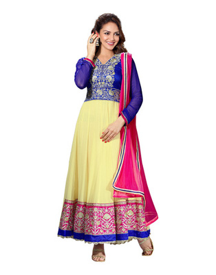 Light Yellow Colored Pure Georgette Salwar Kameez Semi-Stitched Salwar Suit