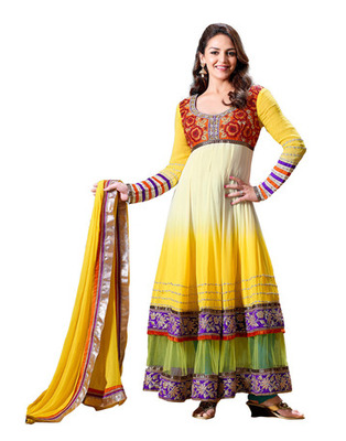Yellow  Colored Pure Georgette Salwar Kameez Semi-Stitched Salwar Suit