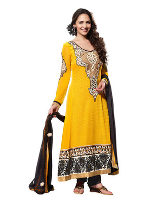 Yellow & Black Colored Pure Georgette Salwar Kameez Semi-Stitched Salwar Suit