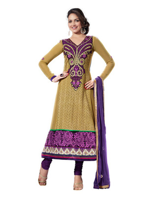 Tan & Purple Colored Pure Georgette Salwar Kameez Semi-Stitched Salwar Suit