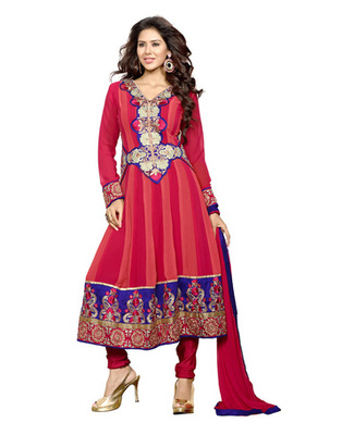 Magenta & Salmon Colored Faux Georgette Semi-Stitched Salwar Suit