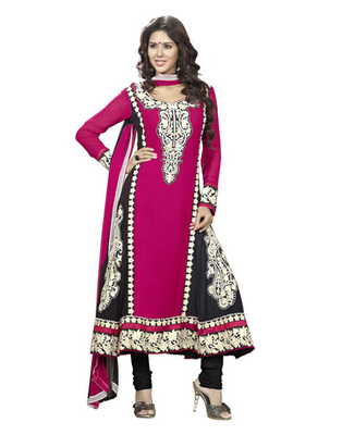 Magenta & Black Colored Faux Georgette Semi-Stitched Salwar Suit