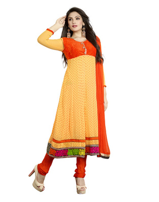 Light Yellow & Orange Colored Faux Georgette Semi-Stitched Salwar Suit