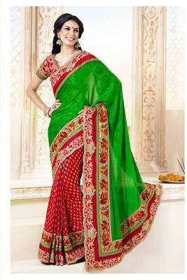 Beautiful Green Faux Satin Chiffon and Faux Georgette Saree with Blouse