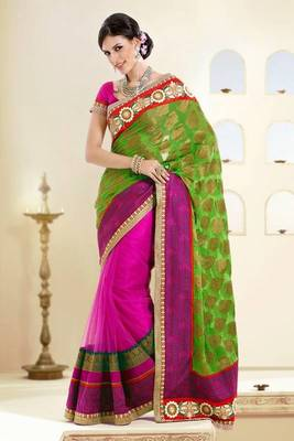 Designer Green and Dark Pink Viscose and Net Saree with Blouse
