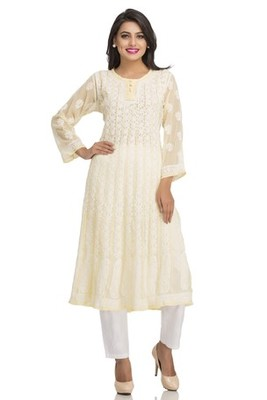 Ada yellow faux georgette Hand embroidered lucknow chikan kurti