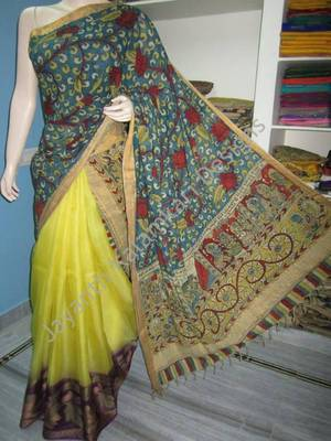 Kalamkari Half and Half saree