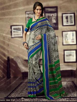 Printed, Bhagalpuri Khadi Silk Saree