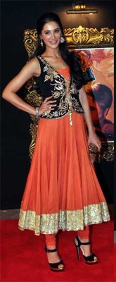 Orange colour bollywood replica anarkali suit online sale.