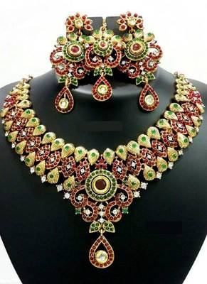 Glitzy Red Green Gold Necklace Set