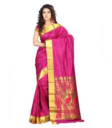 Buy pink hand woven kanchipuram silk saree With Blouse kanchipuram-silk-saree online