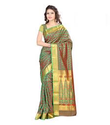 Buy green hand woven kanchipuram silk saree With Blouse kanchipuram-silk-saree online