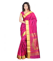 Buy Pink hand woven kanchipuram silk pattu saree with blouse kanchipuram-silk-saree online