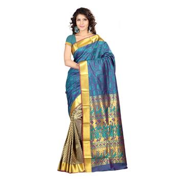 blue hand woven kanchipuram silk saree With Blouse
