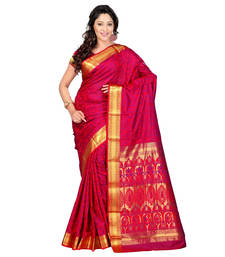 Buy red hand woven kanchipuram silk saree With Blouse kanchipuram-silk-saree online