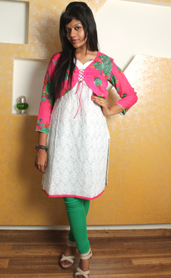 White Chikan Kurti with Floral Pink Strings Jacket