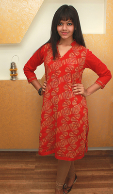 Red Cotton Kurti with Yellow Printed Flowers