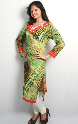 Peacock Printed Shell Embroidered Kurti