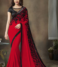 Buy Maroon embroidered georgette saree With Blouse designer-embroidered-saree online