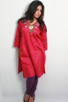 Pink Purple Ribbon and Sequins Embroidered Kurti