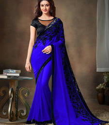 Buy Navy blue embroidered georgette saree With Blouse designer-embroidered-saree online
