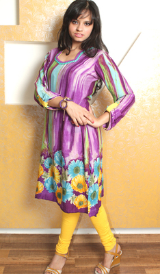 Purple Cotton Lawn Floral Kurti with Beads Embroidery