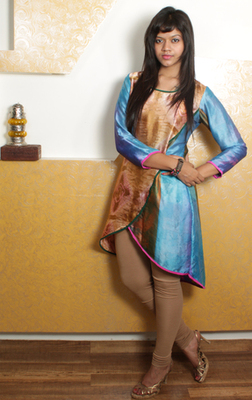 Overlap Silk Multicolour  Kurti with Green Piping
