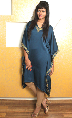 Navy Blue Satin Kaftan with Gold Hand Embroidery