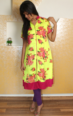 Fluorescent Cotton Kurti with Pink Floral Print