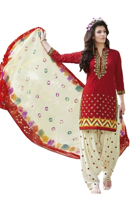 Red pure cotton embroidered unstitched salwar with dupatta