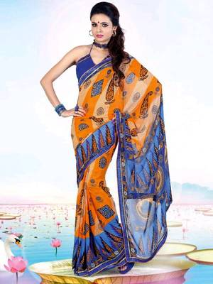 Kalazone Blue,Orange Faux Georgette Geometric Print Saree WS20685