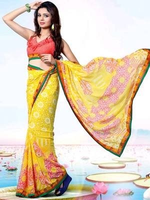 Kalazone Red,Yellow Faux Georgette Geometric Print Saree WS20688