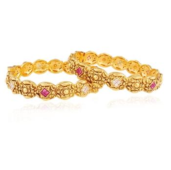 Womens Aspiration Gold plated antique bangle