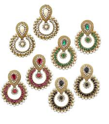 Pearl traditional ethnic indian four pair earring