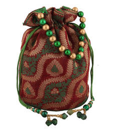 Traditional Red, Green and Gold Potli Bag
