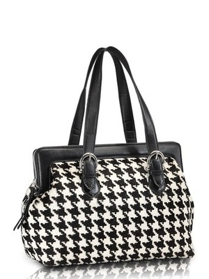 "Phive Rivers-Checkers, Genuine Leather Women Shoulder Bag with colour : ""Black & White"""