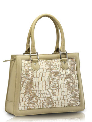 "Phive Rivers-Lexi, Genuine Leather Women Shoulder Bag with colour : ""Off White"""