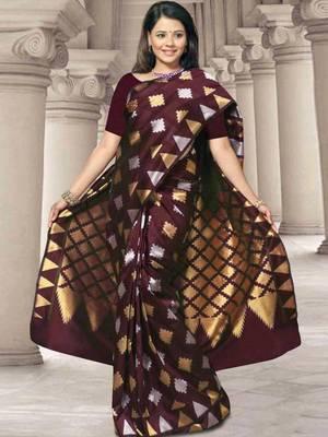 Kalazone Brown  Zari Work Silk Saree:WS20703