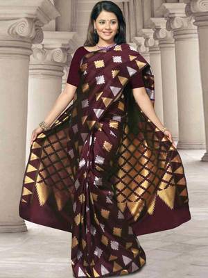 Kalazone Brown  Zari Work Silk Saree:WS20703