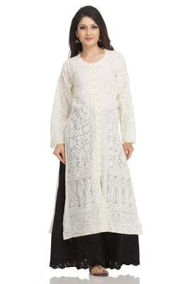 Ada lemon faux georgette Hand embroidered lucknow chikan kurti