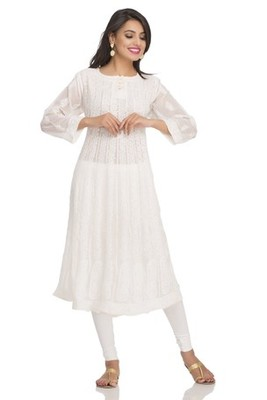 Ada Fawn Faux Georgette Hand Embroidered Lucknow Chikan Kurti