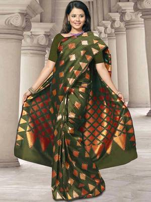 Kalazone Green Silk Zari Work Saree WS20704