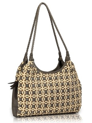 "Phive Rivers-Shakina, Genuine Leather Women Handbag with colour : ""Grey and Cream"""