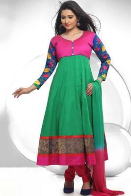 Jade Green and Persian-rose Pink Cotton readymed Embroidered Anarkali Salwar Kameez