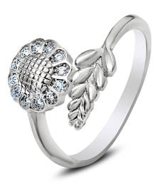 Buy Silver White Flowery Leaves Ring with CZ Stones engagement-ring online