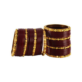 Maroon Plain Acrylic-Brass Bangle