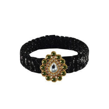 Black Stone Brass Bangle