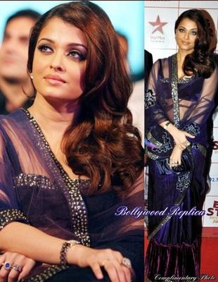 Attractive Net-Velvet Blue Saree with Unstitched Blouse