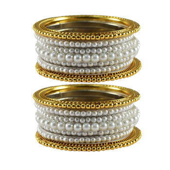 White Moti Brass Bangle