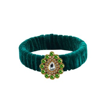 Green Stone Brass Bangle